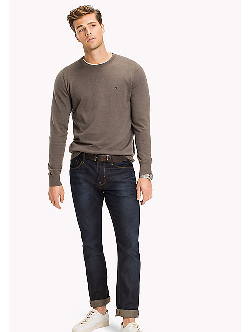 TOMMY HILFIGER Cotton Silk Crew Neck Jumper - GRANITE GRAY HEATHER - TOMMY HILFIGER Jumpers - main image