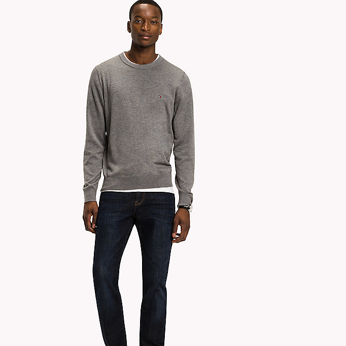 TOMMY HILFIGER Cotton Silk Crew Neck Jumper - LIMOGES HEATHER - TOMMY HILFIGER Clothing - main image