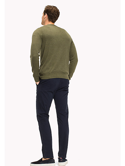 TOMMY HILFIGER Cotton Silk Crew Neck Jumper - FOUR LEAF CLOVER HTR - TOMMY HILFIGER Трикотаж - подробное изображение 1