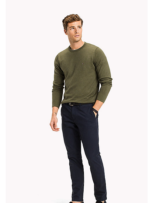 TOMMY HILFIGER Cotton Silk Crew Neck Jumper - FOUR LEAF CLOVER HTR - TOMMY HILFIGER Трикотаж - главное изображение