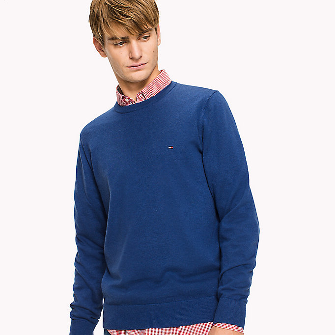 TOMMY HILFIGER Cotton Silk Crew Neck Jumper - INCA GOLD HEATHER - TOMMY HILFIGER Clothing - detail image 2