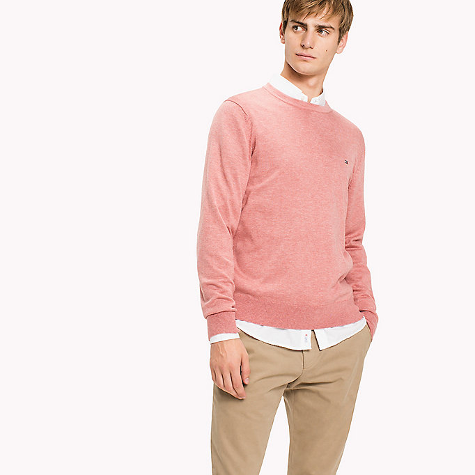 TOMMY HILFIGER Cotton Silk Crew Neck Jumper - GRANITE GRAY HEATHER - TOMMY HILFIGER Clothing - main image