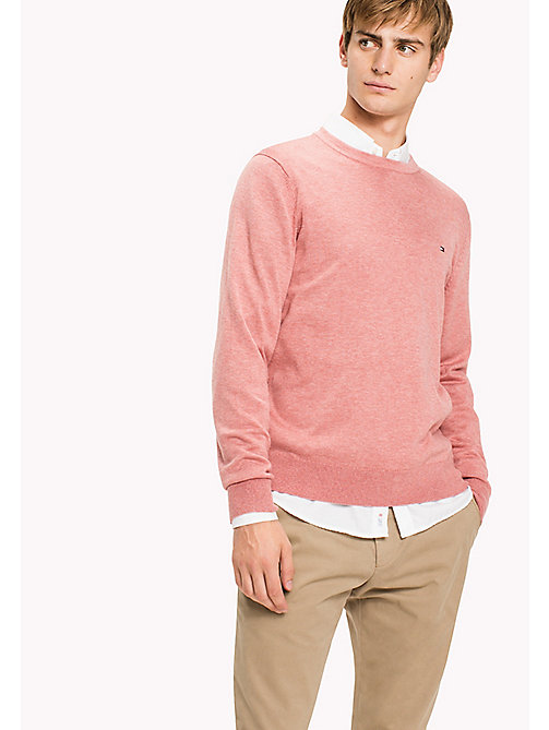 TOMMY HILFIGER Cotton Silk Crew Neck Jumper - DUSTY ROSE HTR - TOMMY HILFIGER Pulls & Gilets - image principale