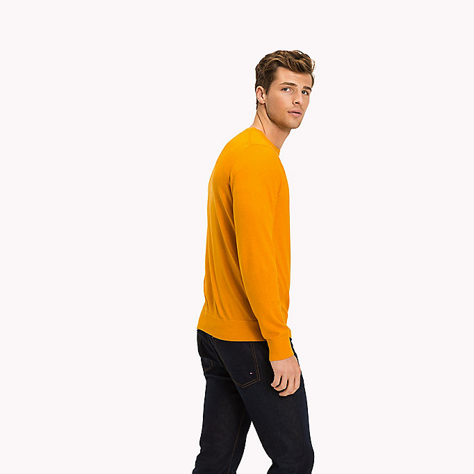 TOMMY HILFIGER Cotton Silk Crew Neck Jumper - INFINITY HEATHER - TOMMY HILFIGER Clothing - detail image 1