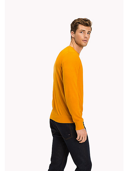 TOMMY HILFIGER Cotton Silk Crew Neck Jumper - INCA GOLD HEATHER - TOMMY HILFIGER Jumpers - detail image 1
