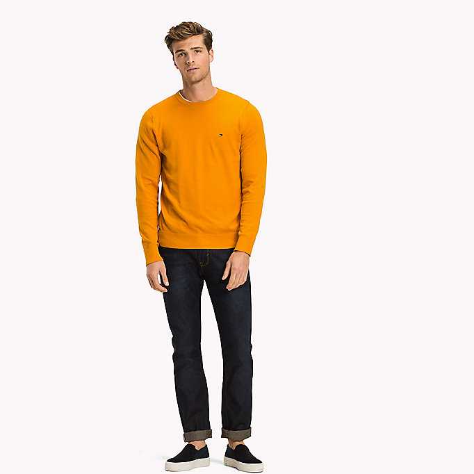 TOMMY HILFIGER Cotton Silk Crew Neck Jumper - INFINITY HEATHER - TOMMY HILFIGER Clothing - main image