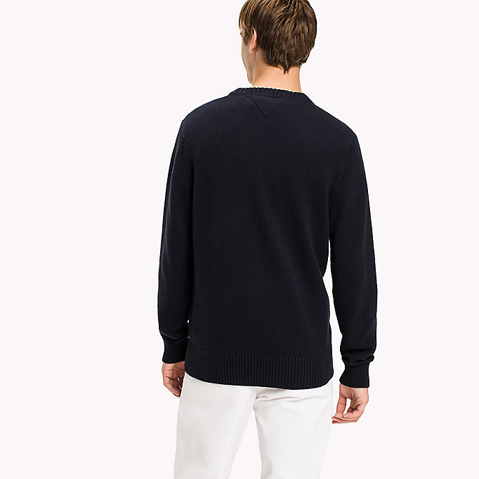 TOMMY HILFIGER Combed Cotton Crew Neck Jumper - SNOW WHITE HEATHER - TOMMY HILFIGER Clothing - detail image 1