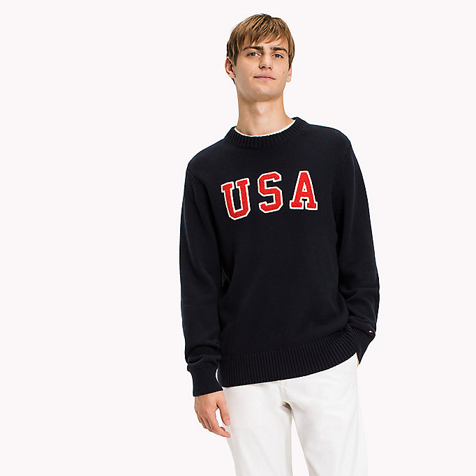 TOMMY HILFIGER Combed Cotton Crew Neck Jumper - SNOW WHITE HEATHER - TOMMY HILFIGER Clothing - main image