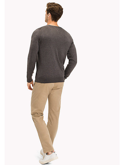 TOMMY HILFIGER Silk Blend V-Neck Jumper - MAGNET HEATHER - TOMMY HILFIGER Jumpers - detail image 1