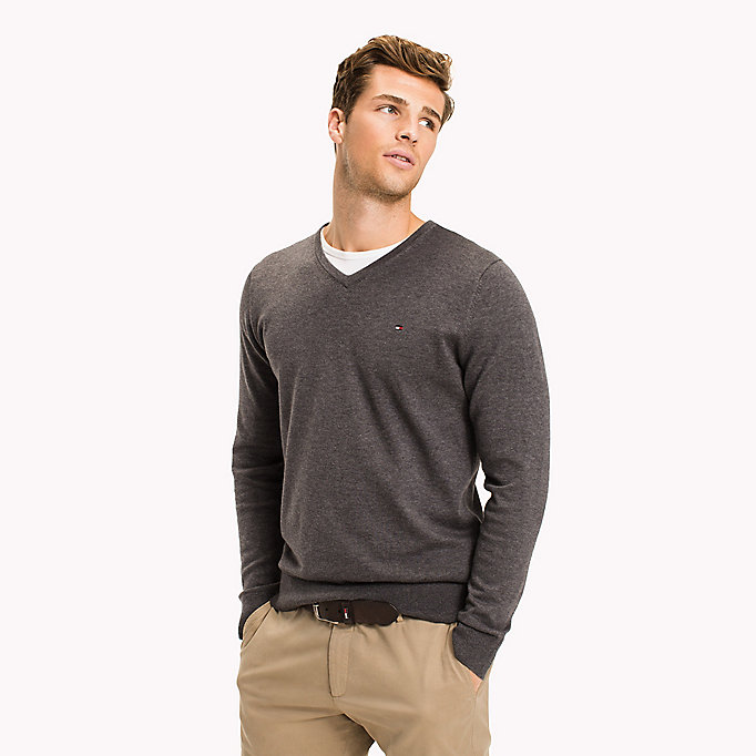 TOMMY HILFIGER Silk Blend V-Neck Jumper - ANGEL BLUE HEATHER - TOMMY HILFIGER Men - main image
