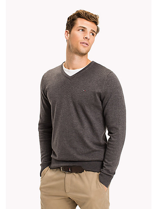 TOMMY HILFIGER Silk Blend V-Neck Jumper - MAGNET HEATHER - TOMMY HILFIGER Jumpers - main image