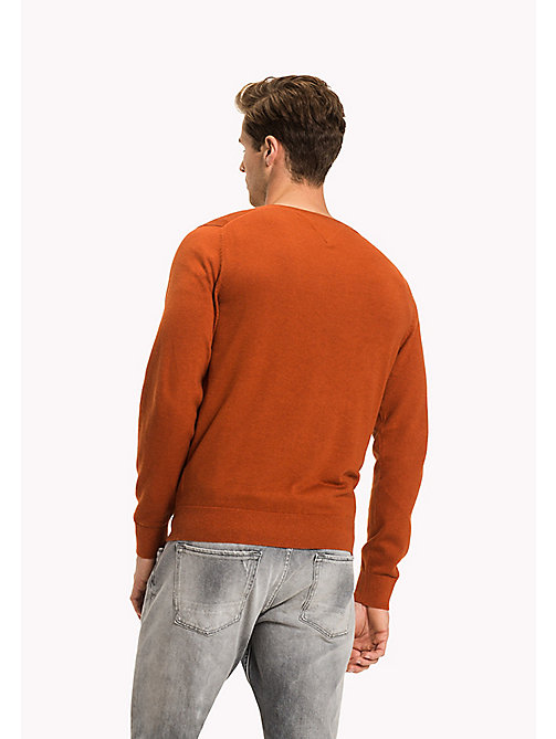 TOMMY HILFIGER Silk Blend V-Neck Jumper - CINNAMON STICK HTR - TOMMY HILFIGER Jumpers - detail image 1