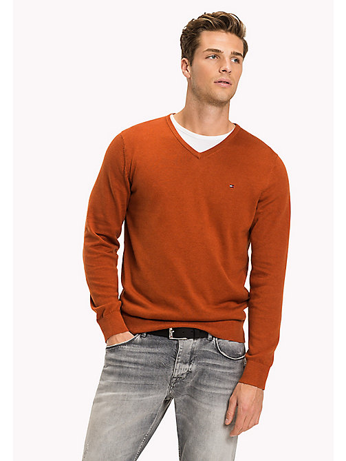 TOMMY HILFIGER Silk Blend V-Neck Jumper - CINNAMON STICK HTR - TOMMY HILFIGER Jumpers - main image