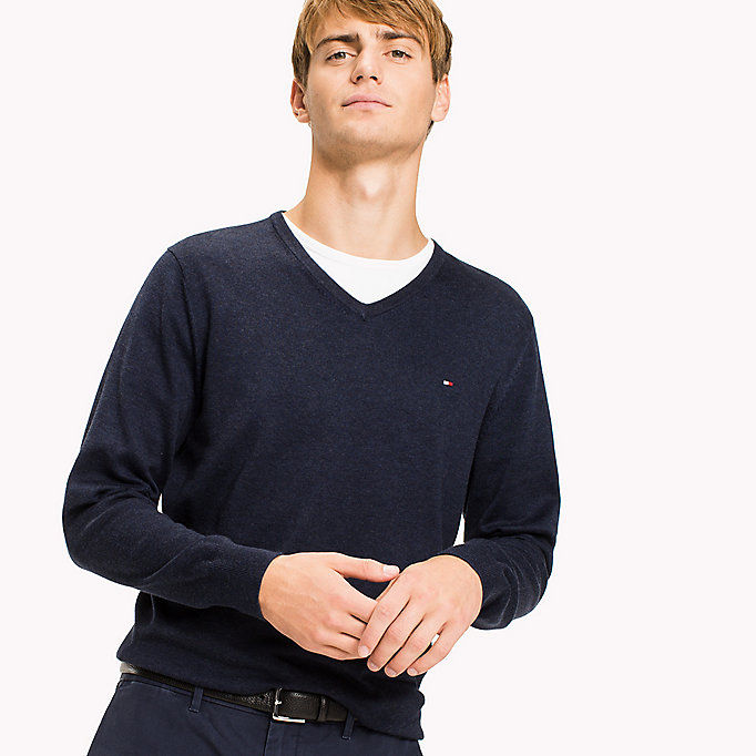 TOMMY HILFIGER Silk Blend V-Neck Jumper - SERENITY HEATHER - TOMMY HILFIGER Men - detail image 2