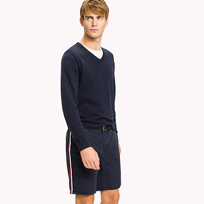 TOMMY HILFIGER Silk Blend V-Neck Jumper - SERENITY HEATHER - TOMMY HILFIGER Men - main image