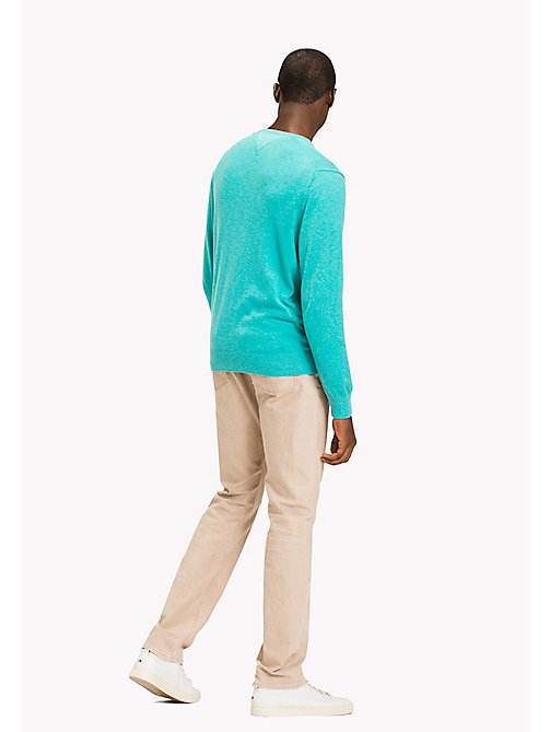 TOMMY HILFIGER Silk Blend V-Neck Jumper - SPECTRA GREEN HTR - TOMMY HILFIGER Jumpers - detail image 1