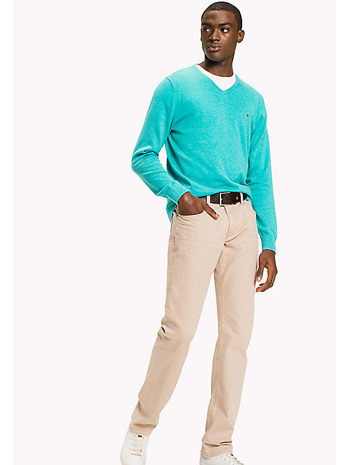 TOMMY HILFIGER Silk Blend V-Neck Jumper - SPECTRA GREEN HTR - TOMMY HILFIGER Jumpers - main image