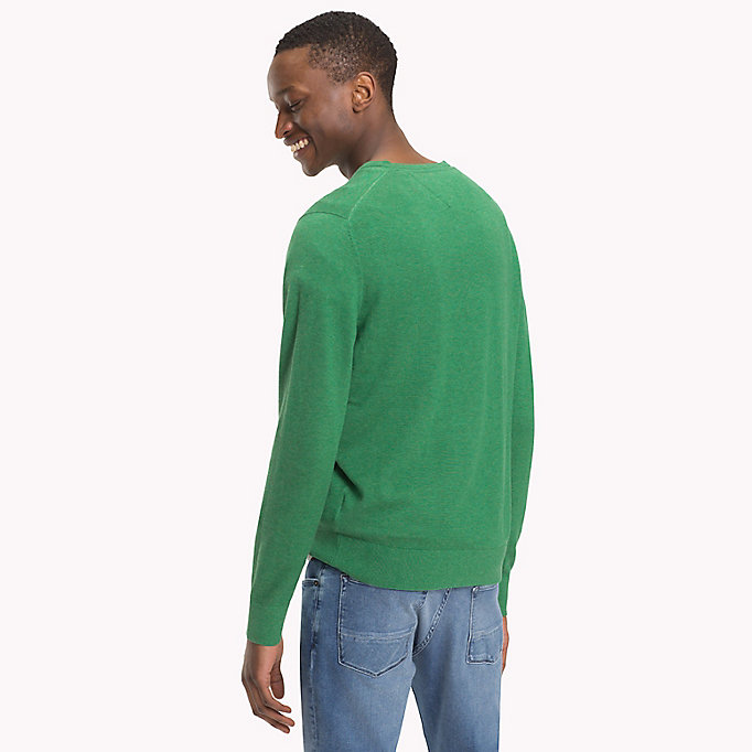 TOMMY HILFIGER Silk Blend V-Neck Jumper - SPECTRA GREEN HTR - TOMMY HILFIGER Men - detail image 1