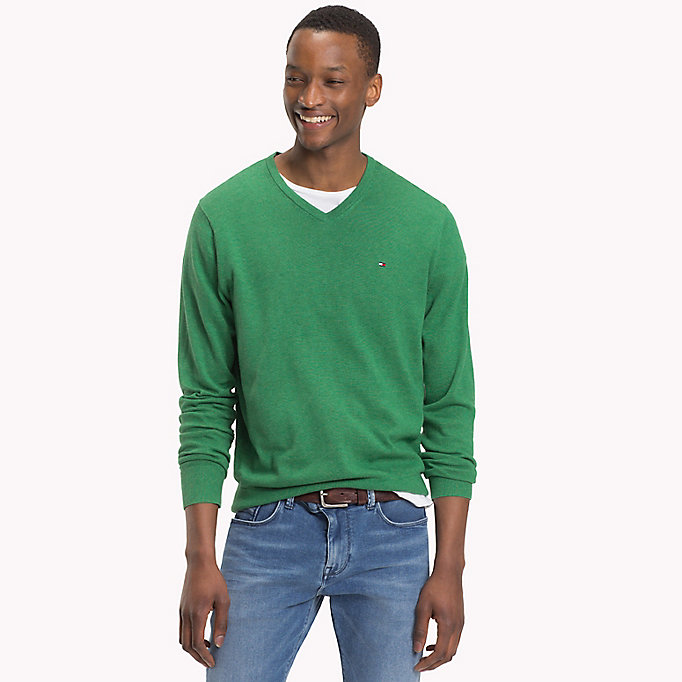 TOMMY HILFIGER Silk Blend V-Neck Jumper - SPECTRA GREEN HTR - TOMMY HILFIGER Men - main image