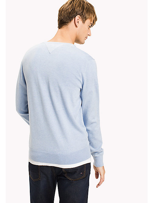 TOMMY HILFIGER Silk Blend V-Neck Jumper - SERENITY HEATHER - TOMMY HILFIGER Jumpers - detail image 1