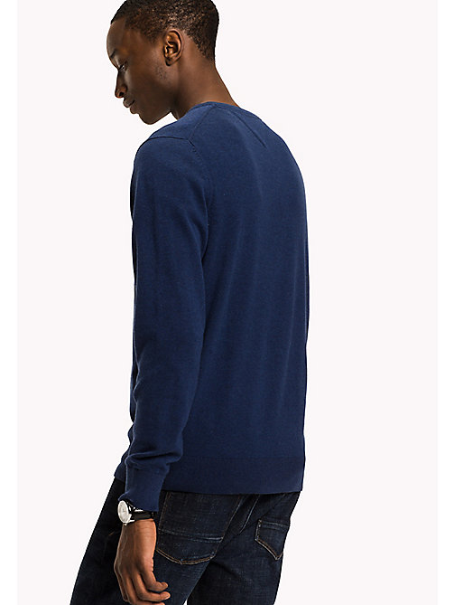 TOMMY HILFIGER Silk Blend V-Neck Jumper - ESTATE BLUE HTR - TOMMY HILFIGER Трикотаж - подробное изображение 1