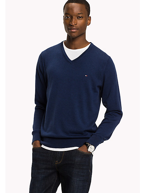 TOMMY HILFIGER Silk Blend V-Neck Jumper - ESTATE BLUE HTR - TOMMY HILFIGER Трикотаж - главное изображение