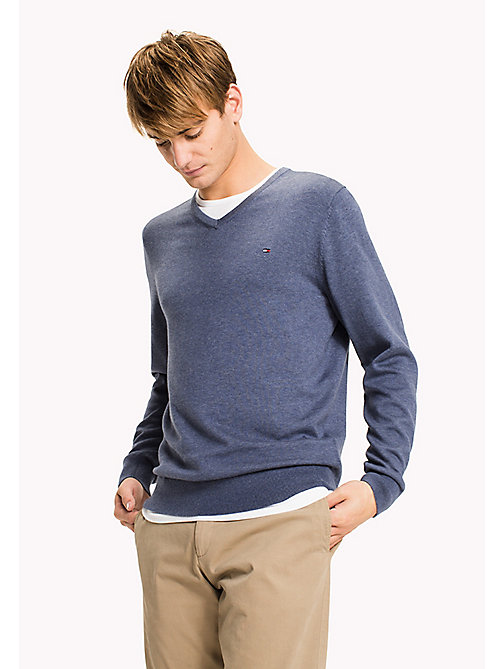 TOMMY HILFIGER Silk Blend V-Neck Jumper - VINTAGE INDIGO HTR - TOMMY HILFIGER Jumpers - main image