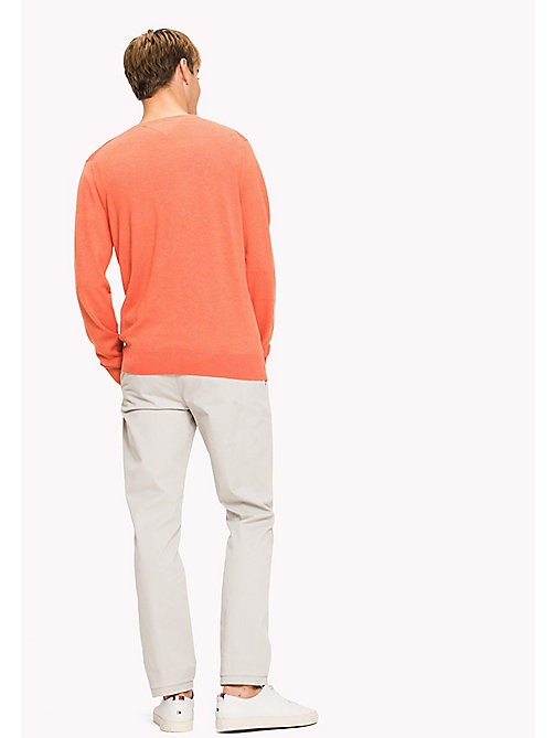 TOMMY HILFIGER Silk Blend V-Neck Jumper - HOT CORAL HTR - TOMMY HILFIGER Трикотаж - подробное изображение 1