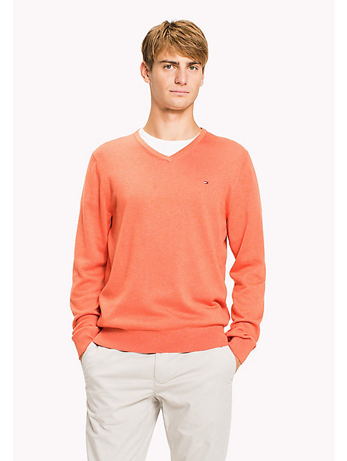 TOMMY HILFIGER Silk Blend V-Neck Jumper - HOT CORAL HTR - TOMMY HILFIGER Трикотаж - главное изображение