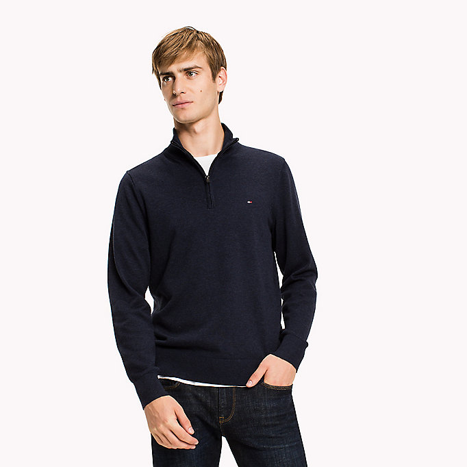 TOMMY HILFIGER Luxury Mock Neck Jumper - BARBADOS CHERRY HEATHER - TOMMY HILFIGER Men - main image