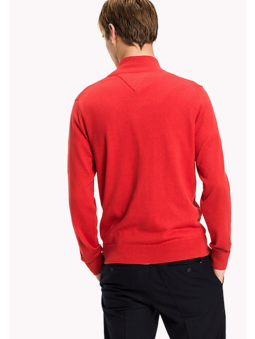 TOMMY HILFIGER Luxury Mock Neck Jumper - BARBADOS CHERRY HEATHER - TOMMY HILFIGER Knitwear - detail image 1