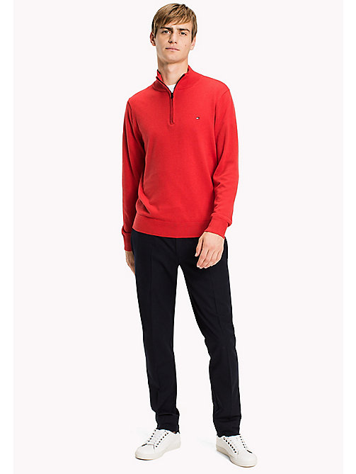 TOMMY HILFIGER Luxury Mock Neck Jumper - BARBADOS CHERRY HEATHER - TOMMY HILFIGER Knitwear - main image