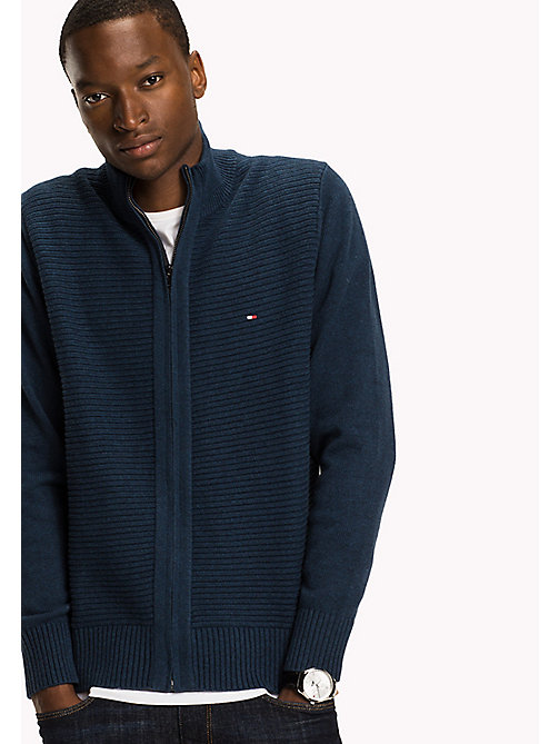TOMMY HILFIGER Cotton Zip Thru Jumper - MAJOLICA BLUE - TOMMY HILFIGER Knitwear - main image