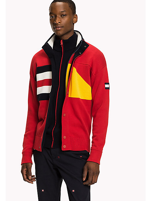 TOMMY HILFIGER Nautical Hooded Zip-Thru - BARBADOS CHERRY - TOMMY HILFIGER Knitwear - main image