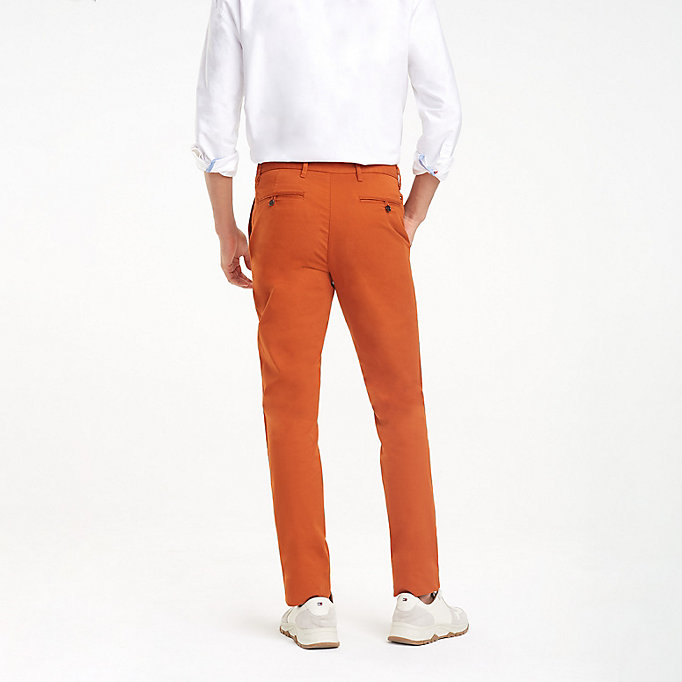 TOMMY HILFIGER Stretch Cotton Slim Fit Chinos - BRIGHT WHITE - TOMMY HILFIGER Clothing - detail image 1