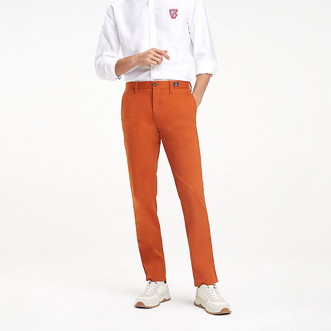 TOMMY HILFIGER Stretch Cotton Slim Fit Chinos - BRIGHT WHITE - TOMMY HILFIGER Men - main image