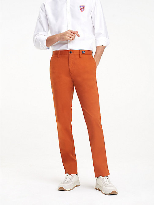 TOMMY HILFIGER Stretch Cotton Slim Fit Chinos - CINNAMON STICK - TOMMY HILFIGER Clothing - main image