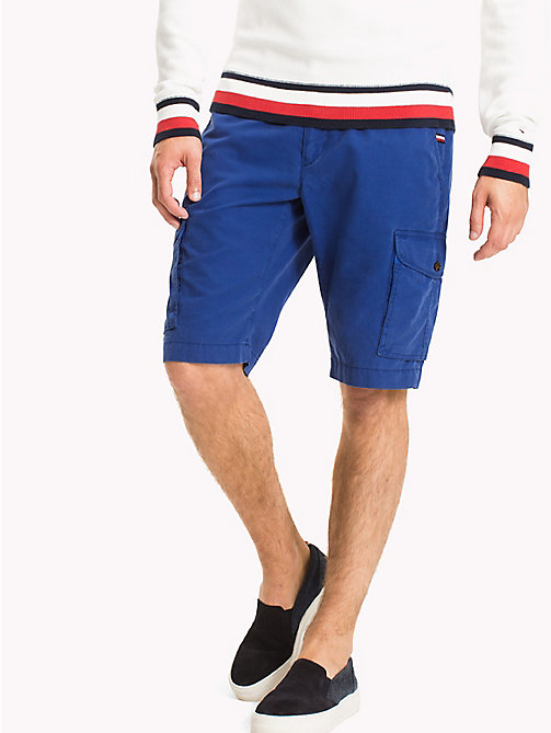 TOMMY HILFIGER Pure Cotton Cargo Shorts - SODALITE BLUE - TOMMY HILFIGER Trousers & Shorts - main image