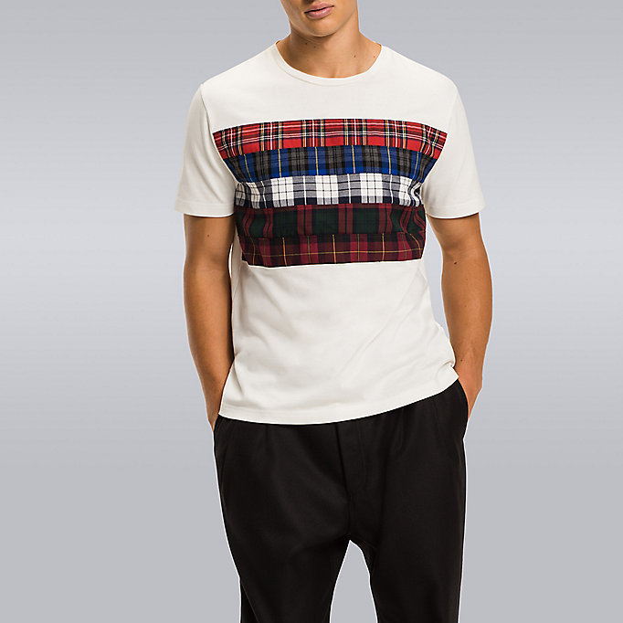 TOMMY HILFIGER Tartan Stripe T-Shirt - Hilfiger Edition - CLOUD HTR - TOMMY HILFIGER Men - main image