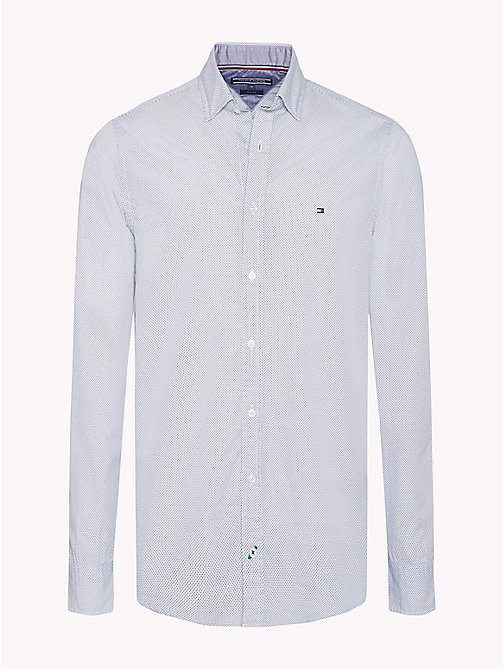 TOMMY HILFIGER Slim Fit Micro Print Shirt - INFINITY / MARITIME BLUE - TOMMY HILFIGER Clothing - main image