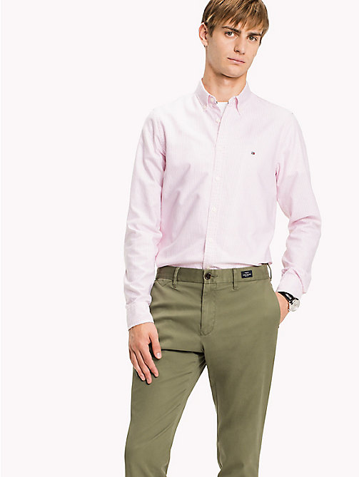 TOMMY HILFIGER Stripe Slim Fit Shirt - CORAL BLUSH / BRIGHT WHITE - TOMMY HILFIGER Camisas - imagen detallada 1