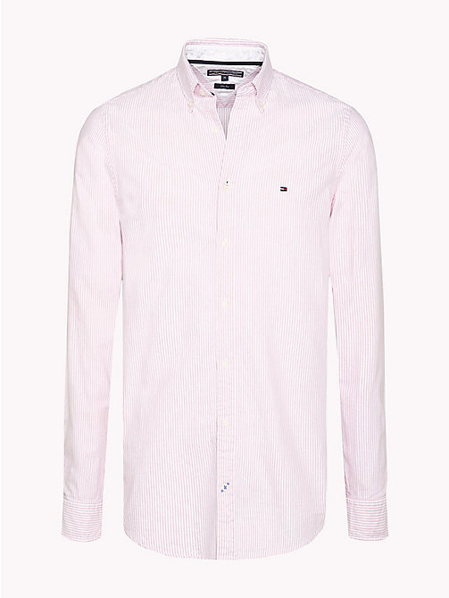 TOMMY HILFIGER Stripe Slim Fit Shirt - CORAL BLUSH / BRIGHT WHITE - TOMMY HILFIGER Shirts - main image