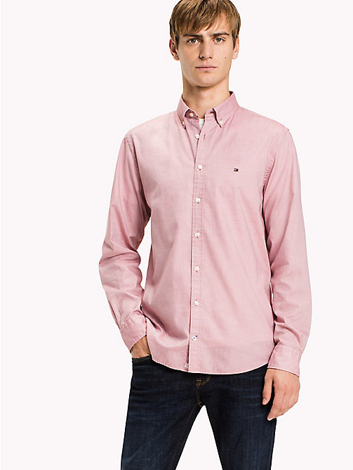 TOMMY HILFIGER Regular fit dobbykatoenen overhemd - DUSTY ROSE - TOMMY HILFIGER Overhemden - detail image 1