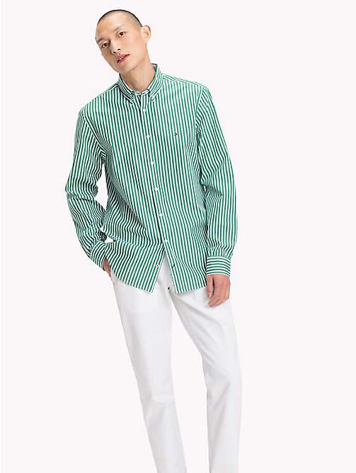 TOMMY HILFIGER Gestreiftes Regular Fit Hemd - VERDANT GREEN / BRIGHT WHITE - TOMMY HILFIGER Kleidung - main image 1