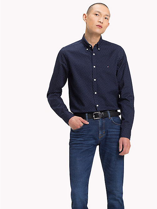 TOMMY HILFIGER Slim Fit Dot Print Shirt - MARITIME BLUE / BRIGHT WHITE - TOMMY HILFIGER Casual Shirts - detail image 1