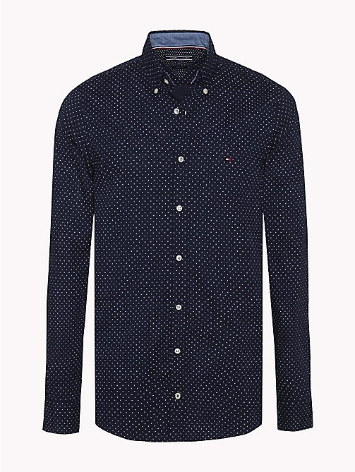 TOMMY HILFIGER Slim Fit Dot Print Shirt - MARITIME BLUE / BRIGHT WHITE - TOMMY HILFIGER Casual Shirts - main image
