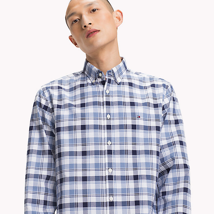 TOMMY HILFIGER Regular Fit Checked Shirt - MARITIME BLUE / CLOUD HTR - TOMMY HILFIGER Clothing - detail image 3