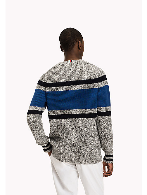 TOMMY HILFIGER Striped Wool Blend Jumper - DOVE HEATHER - TOMMY HILFIGER Knitwear - detail image 1