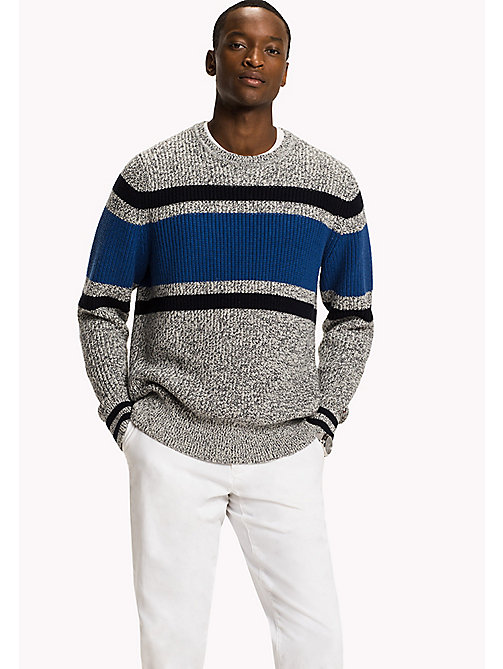 TOMMY HILFIGER Striped Wool Blend Jumper - DOVE HEATHER - TOMMY HILFIGER Knitwear - main image