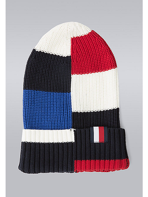 TOMMY HILFIGER Block Stripe Beanie - Hilfiger Edition - SNOW WHITE/BARBADOS CHERRY/SKY CAPTAIN/S - TOMMY HILFIGER Bags & Accessories - main image